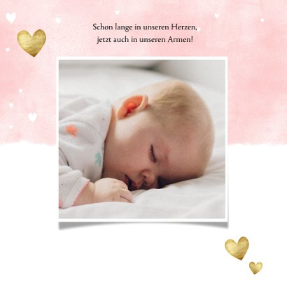 Geburtskarte mit Fotos Auqarelloptik mit Herzen rosa 2