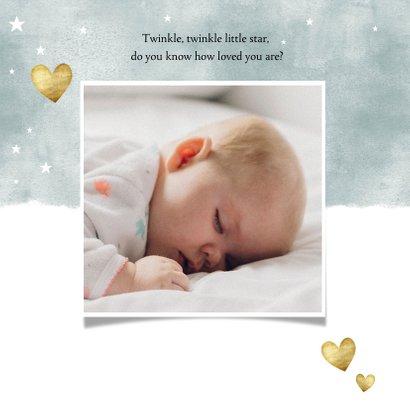 Geburtskarte mit Fotos Auqarelloptik mit Sternen blau 2