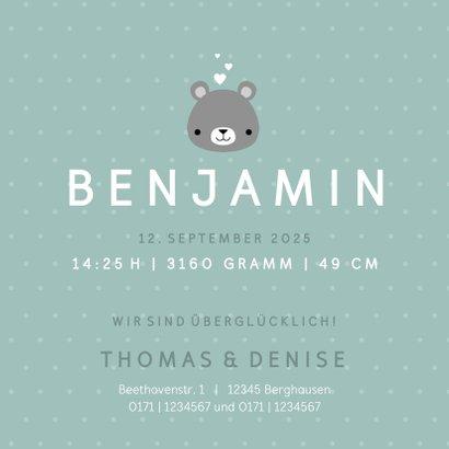 Geburtskarte mit kleinem Bär und Foto innen 3