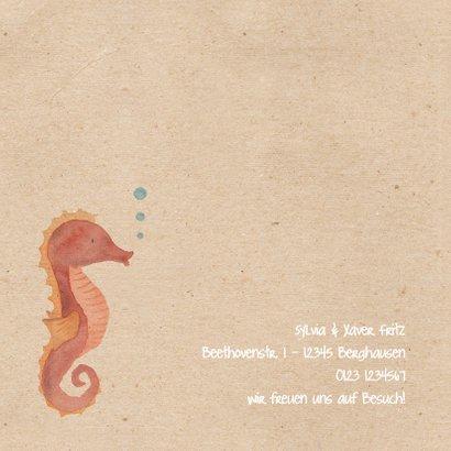 Geburtskarte mit kleinem Seepferdchen Aquarell 2