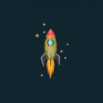 Geburtskarte mit Rakete und Sternenhimmel 2