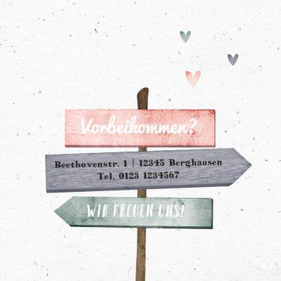 Geburtskarte mit Wegweiser rosa 2