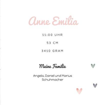 Geburtskarte mit Wegweiser rosa 3