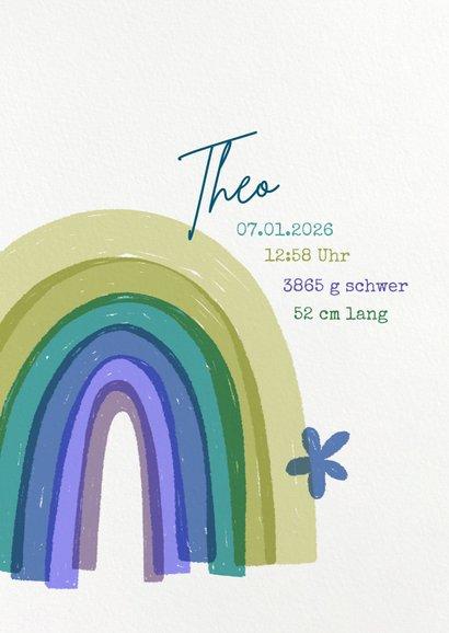 Geburtskarte Regenbogen blau Baby  2