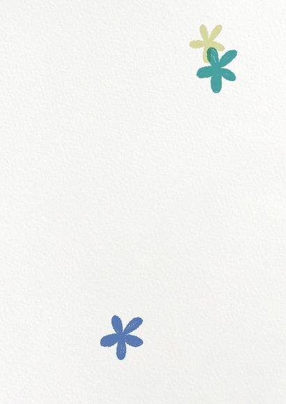 Geburtskarte Regenbogen blau Baby  Rückseite