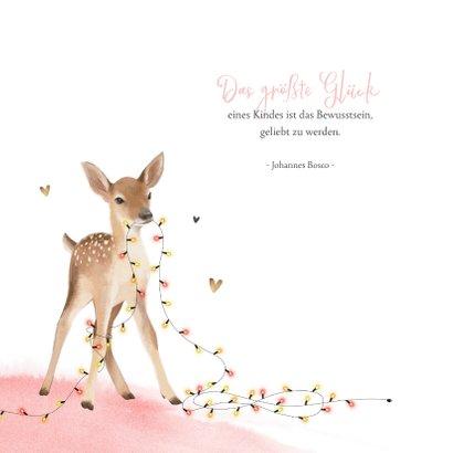 Geburtskarte Rehkitz rosa Winter/Weihnachten 2