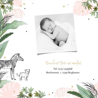 Geburtskarte rosa Dschungel Tiere und Konfetti 2