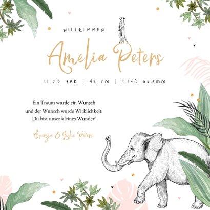 Geburtskarte rosa Dschungel Tiere und Konfetti 3