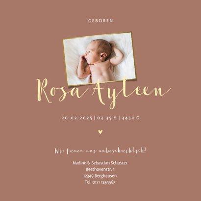 Geburtskarte rosa Farbe anpassbar Foto innen 3