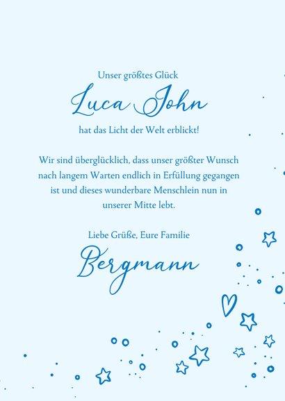 Geburtskarte rundes Foto und Sterne blau 3