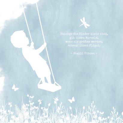 Geburtskarte Scherenschnitt Junge auf Schaukel 2