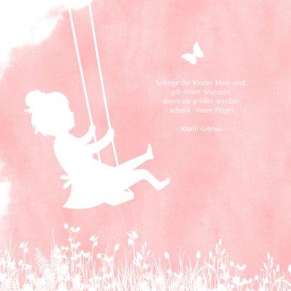 Geburtskarte Scherenschnitt Mädchen auf Schaukel 2