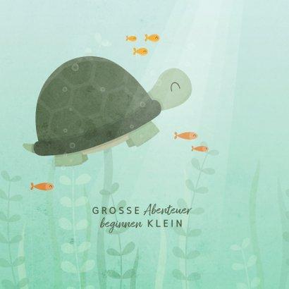 Geburtskarte Schildkröte und Fische Foto innen 2