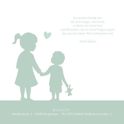 Geburtskarte Silhouette große Schwester kleiner Bruder 2