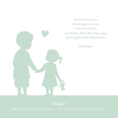 Geburtskarte Silhouette großer Bruder kleine Schwester 2