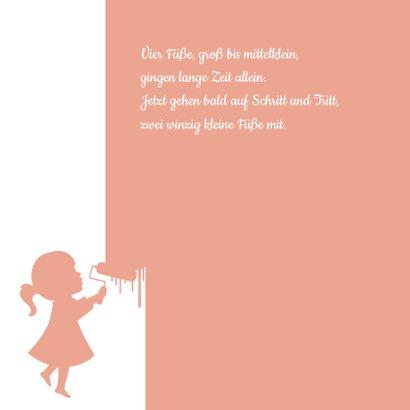 Geburtskarte Silhouette kleines Mädchen mit Farbroller 2