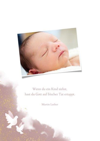 Geburtskarte Taube rosé Foto innen 2