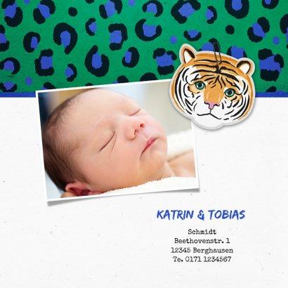 Geburtskarte Tiger und Pantherprint grün Foto innen 2