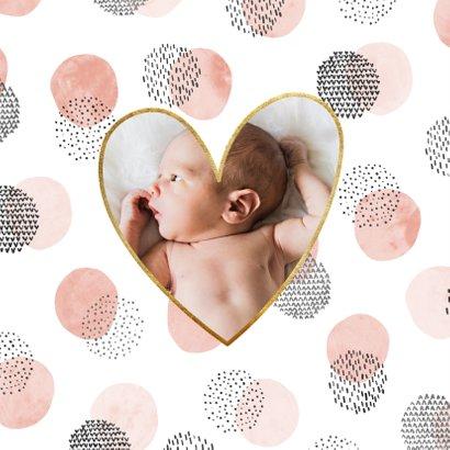 Geburtskarte Tupfen Wasserfarbe rosa Foto innen 2