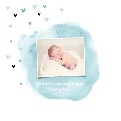 Geburtskarte Wasserfarbe & Herzen blau Foto innen 2
