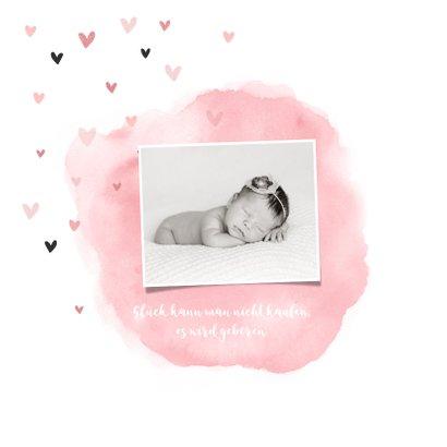 Geburtskarte Wasserfarbe & Herzen Foto rosa innen 2