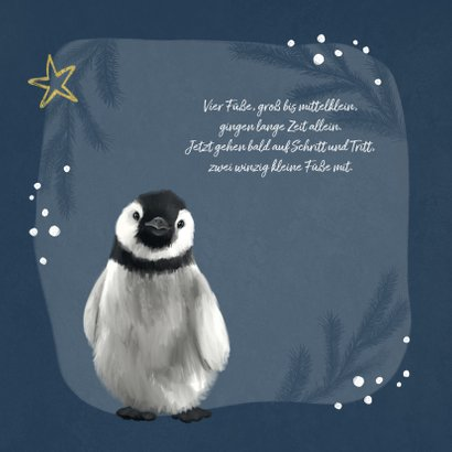 Geburtskarte winterlich kleiner Pinguin 2