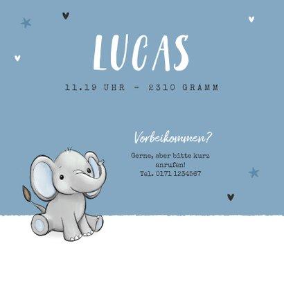 Geburtskarte Zwilling Elefanten blau 2