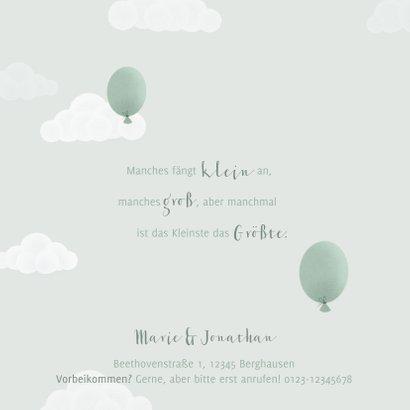 Geburtskarte Zwilling Elefanten, Luftballons & Wolken 2