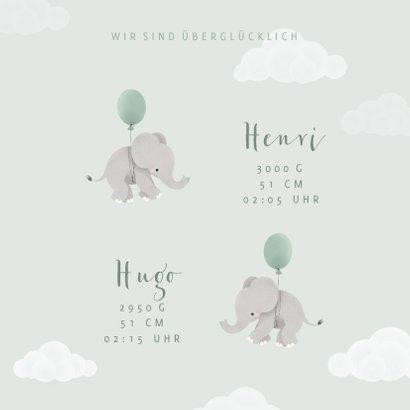 Geburtskarte Zwilling Elefanten, Luftballons & Wolken 3