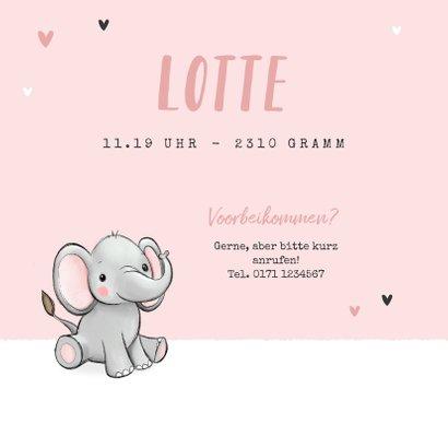 Geburtskarte Zwilling Elefanten rosa 2