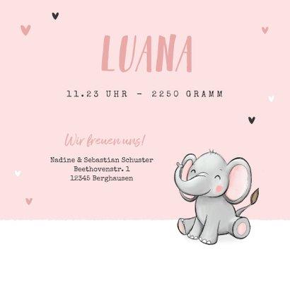 Geburtskarte Zwilling Elefanten rosa 3