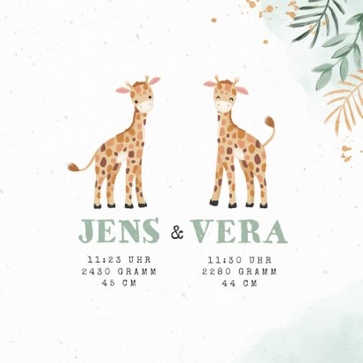Geburtskarte Zwilling Giraffenkinder botanisch 3
