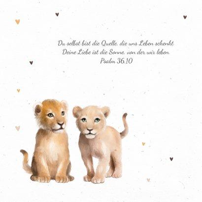 Geburtskarte Zwilling Löwenkinder 2
