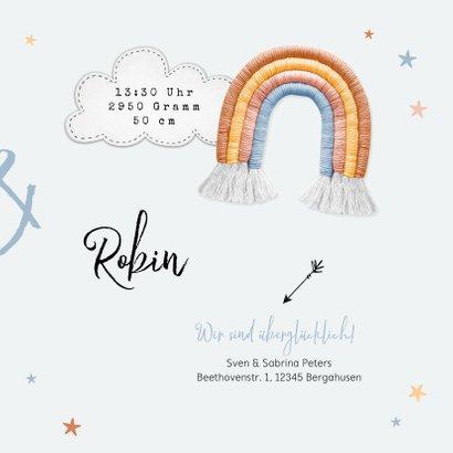 Geburtskarte Zwilling Stoffregenbogen, Wolken, Sterne & Foto 3