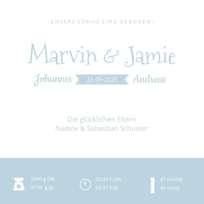 Geburtskarte Zwillinge Jungen Scherenschnitt blau 3