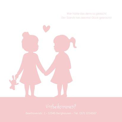 Geburtskarte Zwillinge Mädchen Scherenschnitt rosa 2