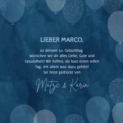 Geburtstags-Glückwunschkarte blaue Luftballons 3