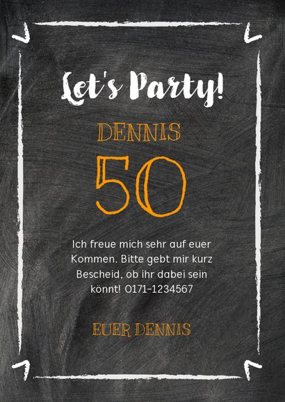 Geburtstagseinladung Kreide-Party 3