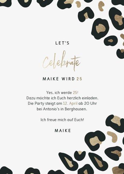 Geburtstagseinladung 'Let's celebrate' mit Leopardenprint 3