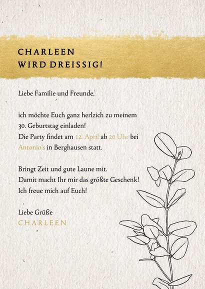 Geburtstagseinladung mit Foto, Streifen in Goldlook & Zweig 3