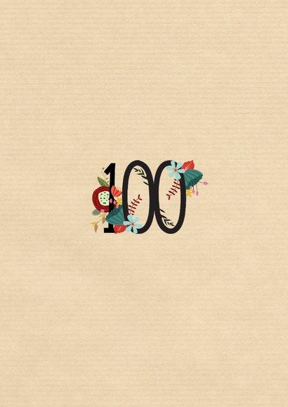 Geburtstagseinladung mit großer Blumenzahl 100 2