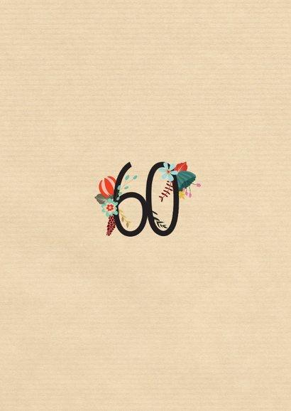Geburtstagseinladung mit großer Blumenzahl 60 2