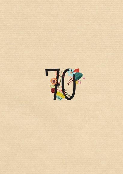 Geburtstagseinladung mit großer Blumenzahl 70 2