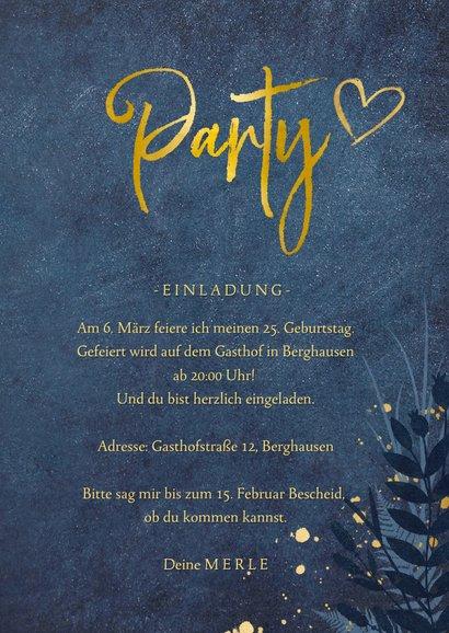 Geburtstagseinladung 'Party' goldene Schrift mit Foto 3