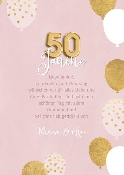 Geburtstagskarte 50. Geburtstag rosa & gold 3