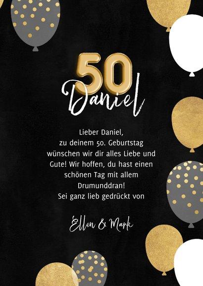 Geburtstagskarte 50. Geburtstag schwarz & gold 3