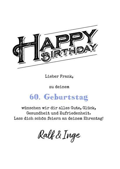Geburtstagskarte 60 Happy birthday 3