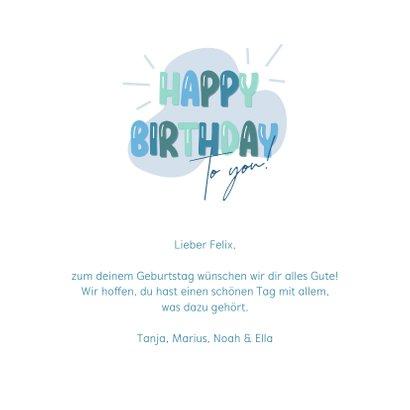 Geburtstagskarte Happy Birthday blaugrün 3