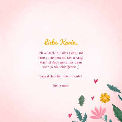 Geburtstagskarte Happy birthday blumig 3