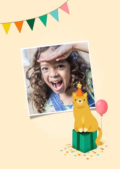 Geburtstagskarte Katze mit Luftballon 2